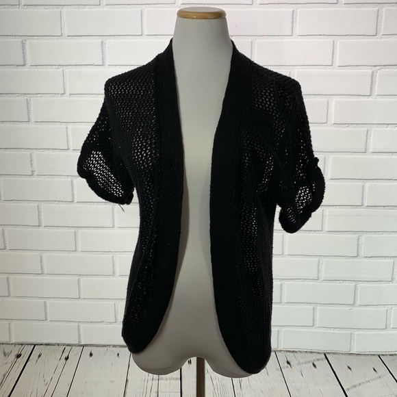 Sag Harbor Black Crochet Open Front Sweater S